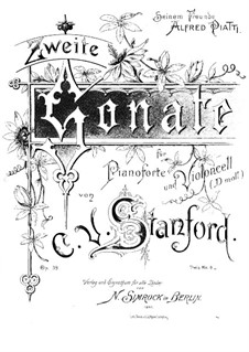 Sonata for Cello and Piano, Op.39: Score by Charles Villiers Stanford