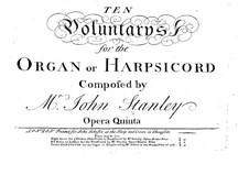 Ten Voluntaries for Organ (or Harpsichord), Op.5: set completo by John Stanley