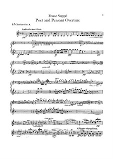 Overture to 'Poet and Peasant': parte clarinetas by Franz von Suppé