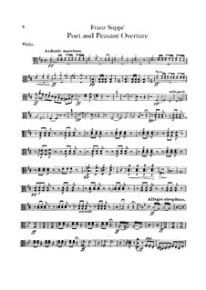 Overture to 'Poet and Peasant': parte viola by Franz von Suppé