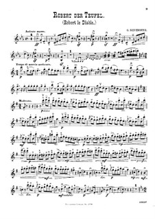 Transcriptions on Motifs from 'Robert the Devil' by G. Meyerbeer for Violin (or Flute), Cello and Piano: parte do violino by Wilhelm Popp