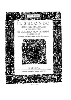 Book 2 (a cinque voci), SV 40–59: Partitura vocal by Claudio Monteverdi