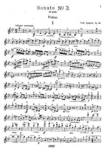 Sonata for Violin and Piano No.3, Op.32: Parte de solo by Emil Sjögren