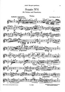 Sonata for Violin and Piano No.4, Op.47: Parte de solo by Emil Sjögren