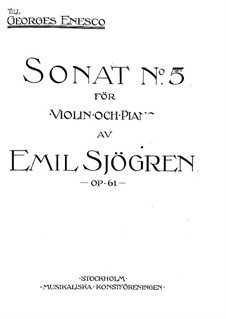Sonata for Violin and Piano No.5, Op.61: Score by Emil Sjögren