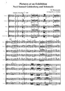 No.6 Samuel Goldenberg and Schmuyle: Partes, para cordas - patitura completa by Modest Mussorgsky