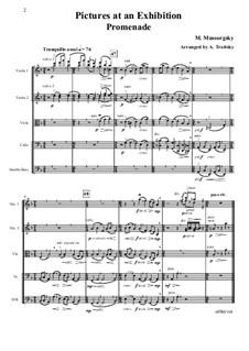 Promenade, No.5 Ballet of the Unhatched Chicks: Partes, para cordas - patitura completa by Modest Mussorgsky