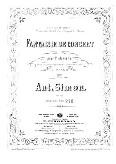 Concert Fantasia for Cello and Orchestra (or Piano), Op.42: partitura by Anton Simon
