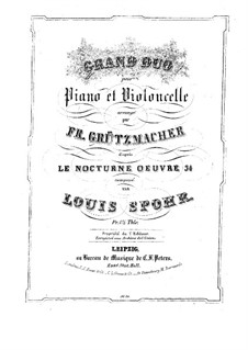 Nocturne in C Major, Op.34: For cello and piano – piano part by Louis Spohr