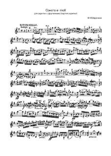 Sonata for Violin and Basso Continuo: Arrangement for violin (or viola) and piano – violin part by Francesco Maria Veracini