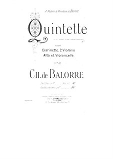 Quintet for Clarinet and Strings: parte clarinete by Charles de Balorre