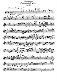 Concerto for Violin and Orchestra in E Minor, Op.64: violino parte solo by Felix Mendelssohn-Bartholdy