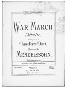 Musik zu Athalia (Music to Athalie), Op.74: War March of the Priest, for piano four hands by Felix Mendelssohn-Bartholdy