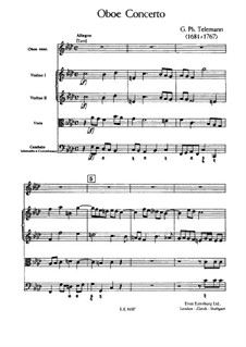 Concerto for Oboe, Strings and Basso Continuo in F Minor, TWV 51:f1: Partitura completa by Georg Philipp Telemann