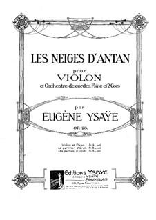 Les Neiges d'Antan, Op.23: para violino e piano - parte solo by Eugène Ysaÿe