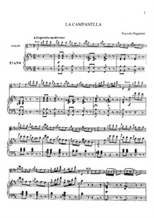 Concerto for Violin and Orchestra No.2 in B Minor, Op.7: La Campanella, for violin and piano by Niccolò Paganini