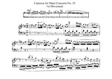 Concerto for Piano and Orchestra No.15 in B Flat Major, K.450: Cadência by Wolfgang Amadeus Mozart