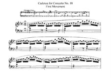 Concerto for Piano and Orchestra No.18 in B Flat Major, K.456: Cadência by Wolfgang Amadeus Mozart