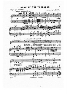 Toreador's Song: Partitura piano-vocal by Georges Bizet