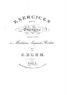 Exercises for Guitar: book III by Carl Wilhelm August Blum