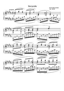Près de l'eau. Six Pieces, Op.38: No.4 Barcarolle by Felix Blumenfeld