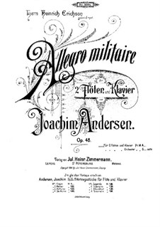 Allegro Militaire for Two Flutes and Piano, Op.48: Partitura completa by Joachim Andersen