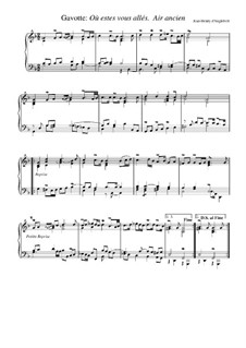 Suite in G Minor: Gavotte 'Ou estes vous alles'. Air ancien by Jean-Henri d'Anglebert