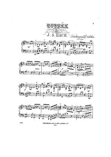 Suite for Cello No.3 in C Major, BWV 1009: Bourrée. Arrangement for piano by Johann Sebastian Bach