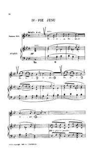 Requiem in D Minor, Op.48: Movement IV 'Pie Jesu' for voice and piano by Gabriel Fauré