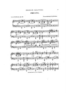 String Quartet No.13 in B Flat Major, Op.130: presto, para piano by Ludwig van Beethoven