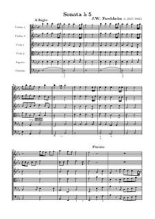 Sonata for Two Violins, Two Violas, Bassoon and Harpsichord: partitura completa by Johann Wilhelm Furchheim
