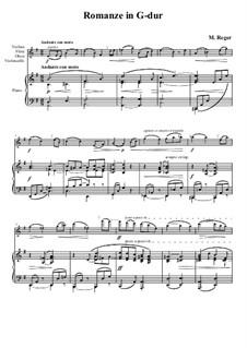 Romance for Violin (or Cello) and Piano: partitura, parte solo by Max Reger