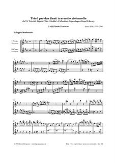 Six Trios for Two Flutes and Cello: Trio No.1 in G Major – parts by Antonio Filtz