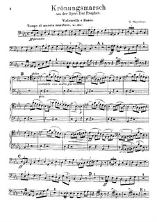 Le prophète (The Prophet): Coronation March – Cello and Double Bass Part by Giacomo Meyerbeer