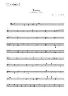 Toccata for Harpsichord and Violin: parte basso continuo by Girolamo Frescobaldi