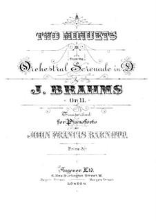 Serenade No.1 in D Major, Op.11: Para Piano by Johannes Brahms