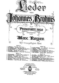 Selected Songs: Book III, for piano by Johannes Brahms