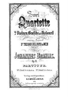 String Quartet No.1 in C Minor, Op.51: Partitura completa by Johannes Brahms
