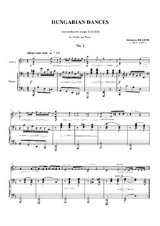 Dance No.2 in D Minor: para violino by Johannes Brahms