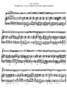 Sonata for Flute and Harpsichord No.2 in E Minor, HWV 375: Score, Parte de solo by Georg Friedrich Händel
