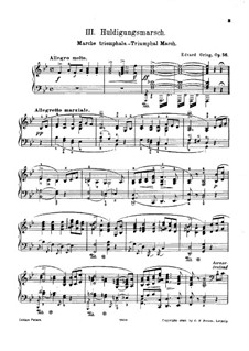 Three Orchestral Pieces from 'Sigurd Jorsalfar', Op.56: No.3 Triumphal March, for Piano by Edvard Grieg