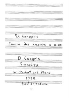 Sonata for Clarinet and Piano: partitura by Dmitri Capyrin