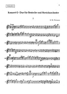 Concerto for Viola, Strings and Basso Continuo in G Major, TWV 51:G9: violino parte I by Georg Philipp Telemann