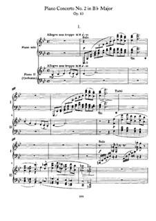 Concerto for Piano and Orchestra No.2 in B Flat Major, Op.83: Versão para dois pianos de quatro mãos by Johannes Brahms