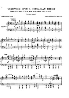 Variations on Hungarian Song, Op.21 No.2: Para Piano by Johannes Brahms