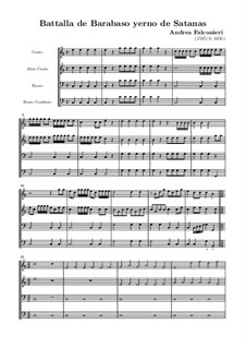 Battalla de Barabaso yerno de Satanas: partitura completa by Andrea Falconieri