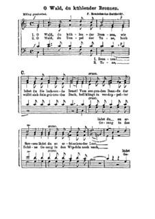 Four Songs, Op.100: Nr.4 O Wald, du kühlender Bronnen by Felix Mendelssohn-Bartholdy