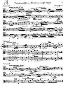 Variations on a Theme by Haydn, Op.56a: Variations No.4, 7, 8 – viola part by Johannes Brahms