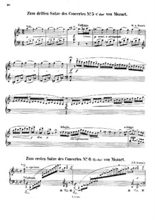 Cadenzas to Piano Concerto in E Flat Major by Mozart: To movement I by Johann Nepomuk Hummel
