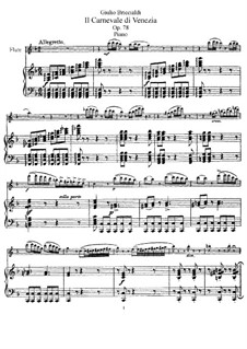 Carnival of Venice for Flute and Orchestra, Op.78: Version for flute and piano – score, solo part by Giulio Briccialdi